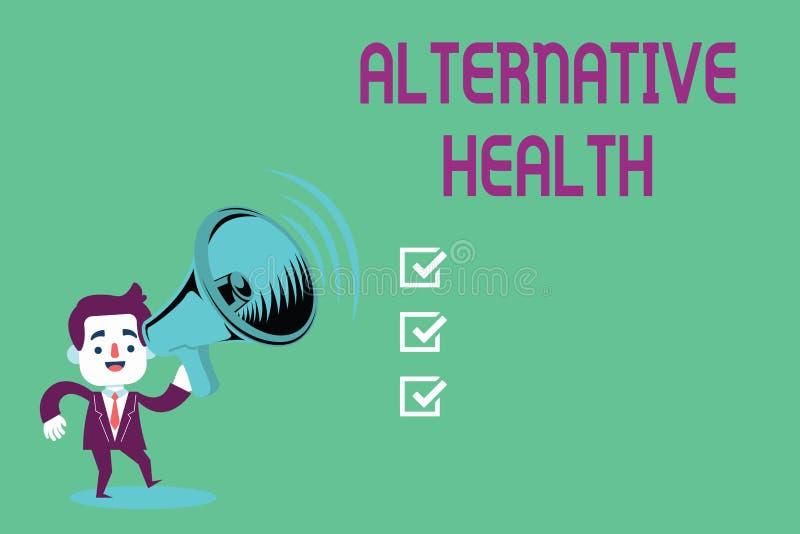 Begriffshandschrift, die alternative Gesundheit zeigt Geschäftsfoto Präsentationsarztpraxen, die nicht Teil Standardsorgfalt sind stock abbildung