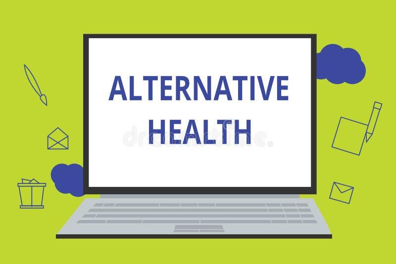 Begriffshandschrift, die alternative Gesundheit zeigt Geschäftsfoto Präsentationsarztpraxen, die nicht Teil Standardsorgfalt sind lizenzfreie abbildung