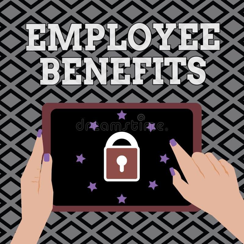Begriffshandschrift, die Angestellten Nutzen zeigt Die indirekte Geschäftsfotopräsentation und der Noncashausgleich zahlten einem lizenzfreie abbildung