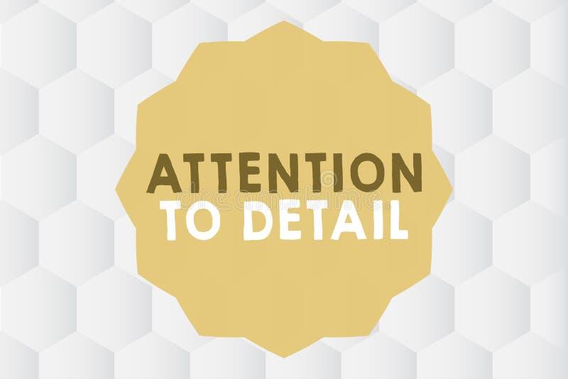 Begriffshandschrift, die Aufmerksamkeit zum Detail zeigt Zur Schau stellendes Geschäftsfoto, Gründlichkeit und Genauigkeit genau  lizenzfreie abbildung