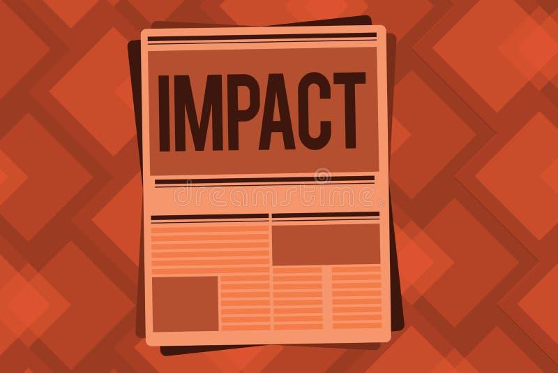 Begriffshandschrift, die Auswirkung zeigt Geschäftsfoto-Textaktion von einem Gegenstand, der gewaltsam in Kontakt mit anderen kom stock abbildung