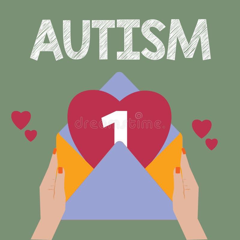 Begriffshandschrift, die Autismus zeigt Geschäftsfoto-Text Schwierigkeit in dem Einwirken und Angelegenheiten auf andere Vertretu lizenzfreie abbildung