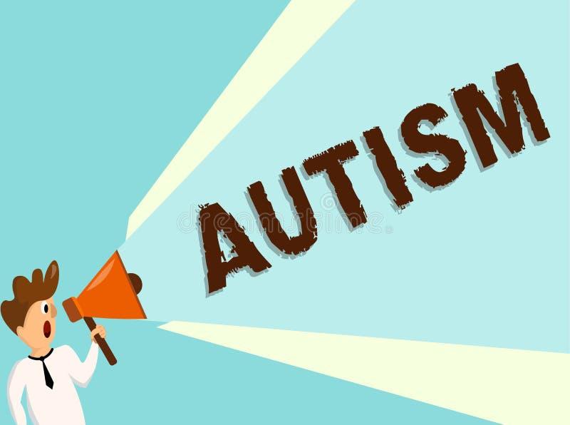 Begriffshandschrift, die Autismus zeigt Geschäftsfoto-Text Schwierigkeit in dem Einwirken und Angelegenheiten auf andere bildend vektor abbildung