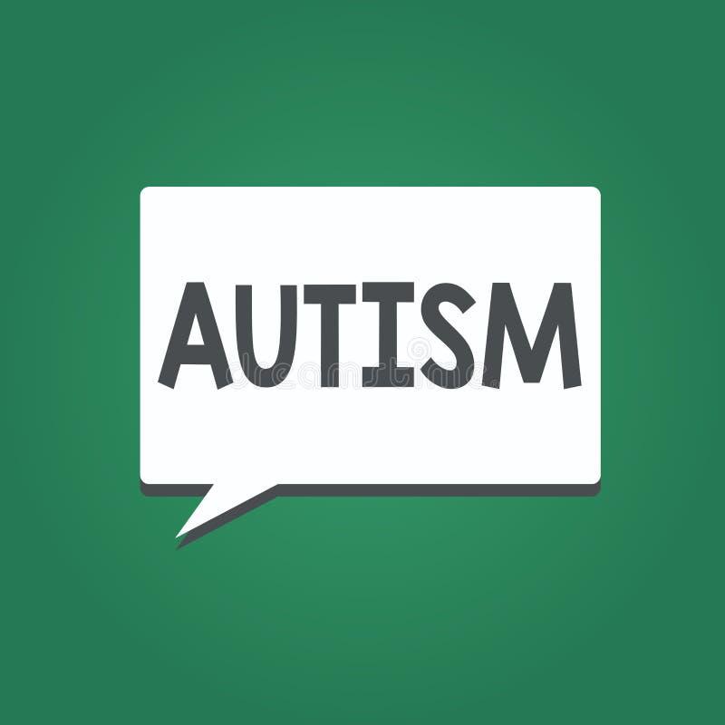 Begriffshandschrift, die Autismus zeigt Geschäftsfoto-Text Schwierigkeit in dem Einwirken und Angelegenheiten auf andere bildend lizenzfreie abbildung