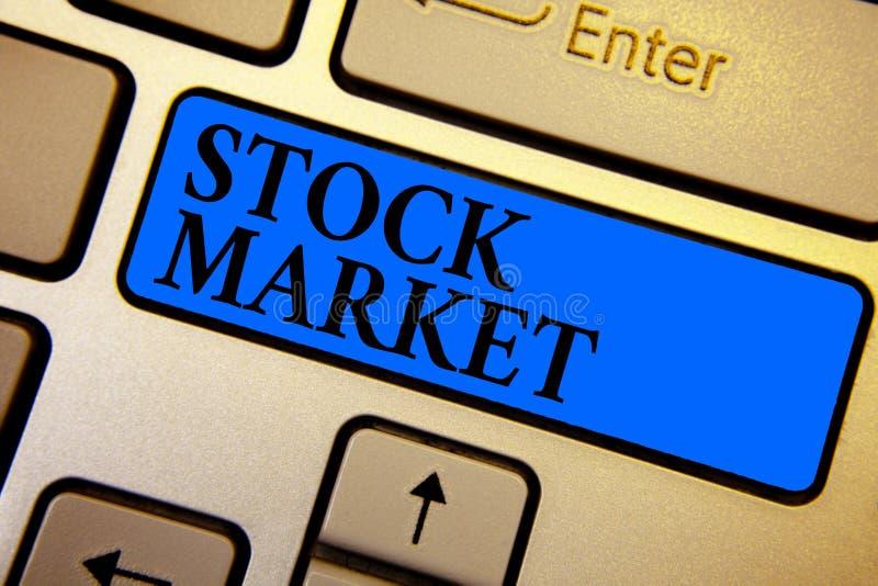 Begriffshandschrift, die Börse zeigt Bestimmter Markt des Geschäftsfoto-Textes, in dem Aktien und Obligationen gehandelt oder K a stockbild