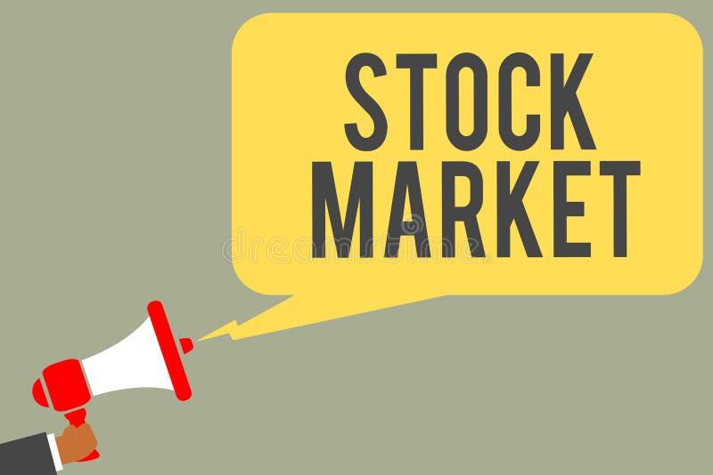 Begriffshandschrift, die Börse zeigt Bestimmter Markt des Geschäftsfoto-Textes, in dem Aktien und Obligationen gehandelt oder M a lizenzfreie stockfotos