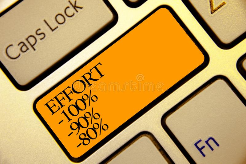 Begriffshandschrift, die Bemühung 100 90 80 zeigt Geschäftsfototext Niveau der Bestimmungsdisziplinmotivation stockfotografie