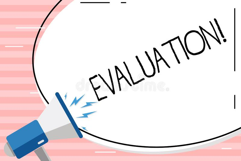 Begriffshandschrift, die Bewertung zeigt Geschäftsfoto werten Präsentationsurteil-Feedback die Qualität aus lizenzfreie abbildung