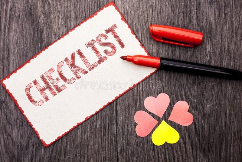 Begriffshandschrift, die Checklisten-Geschäftsfototext Todolist-Listen-Plan auserlesenes Berichts-Feedback-Daten-Fragebogen writt stockfotos