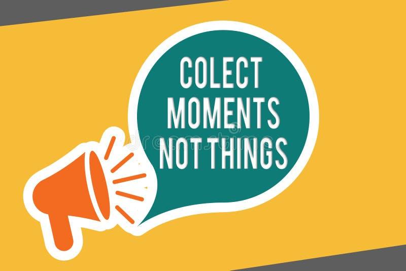 Begriffshandschrift, die Colect-Moment-nicht Sachen zeigt Geschäftsfototext-Versammlungsgedächtnisse als kurzlebig lizenzfreie abbildung