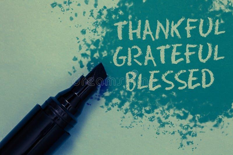 Begriffshandschrift, die dankbares dankbares gesegnet zeigt Geschäftsfoto Präsentationshaltung Spr der anerkennungsdankbarkeits-g stockfoto