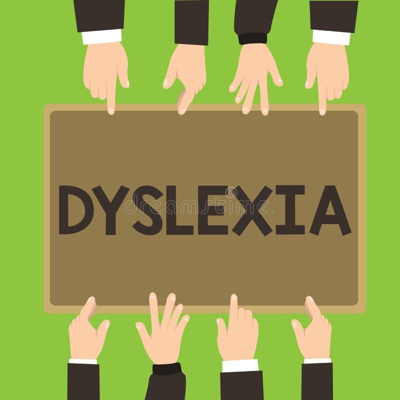 Begriffshandschrift, die Dyslexie zeigt Geschäftsfoto Präsentationsstörungen, denen Schwierigkeit beim Lernen zu miteinbeziehen S lizenzfreie abbildung