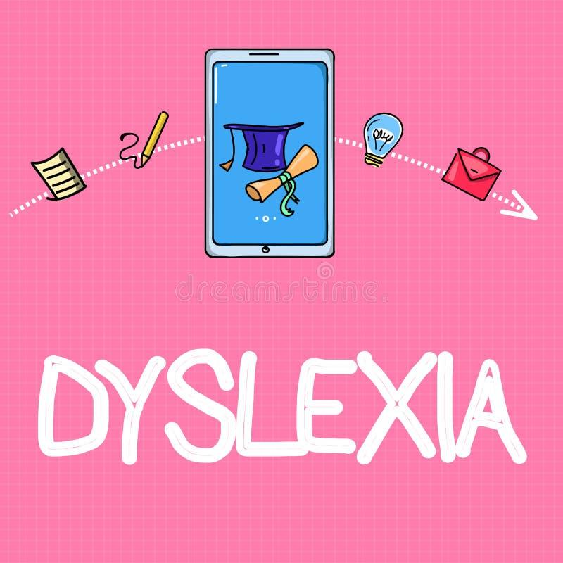 Begriffshandschrift, die Dyslexie zeigt Geschäftsfoto-Text Störungen, die Schwierigkeit beim Lernen zu lesen miteinbeziehen und vektor abbildung