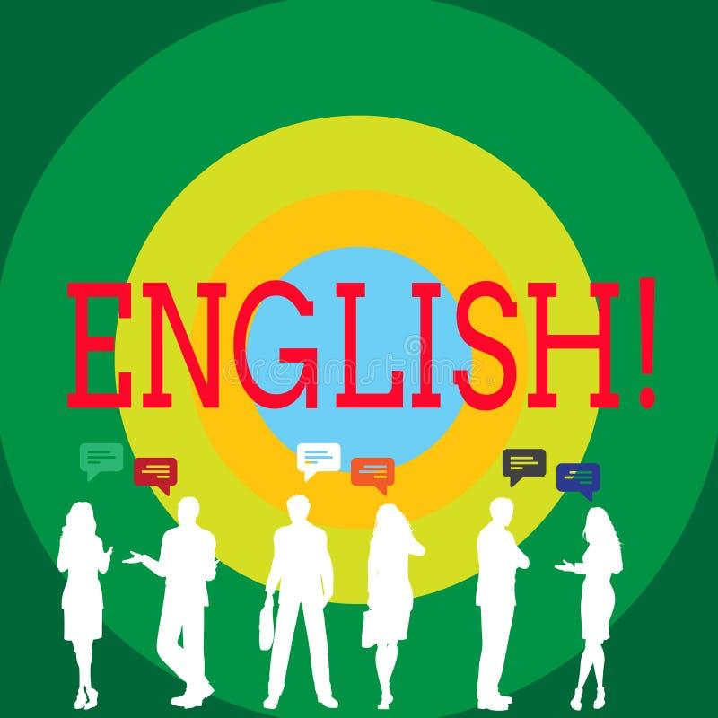 Begriffshandschrift, die Englisch zeigt Geschäftsfoto, das bezüglich England seine Leute oder ihre Sprache zur Schau stellt stock abbildung