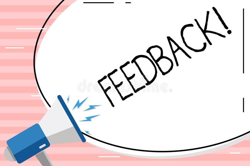 Begriffshandschrift, die Feedback zeigt Geschäftsfoto geben Präsentationskunden-Bericht-Meinungs-Reaktions-Bewertung vektor abbildung