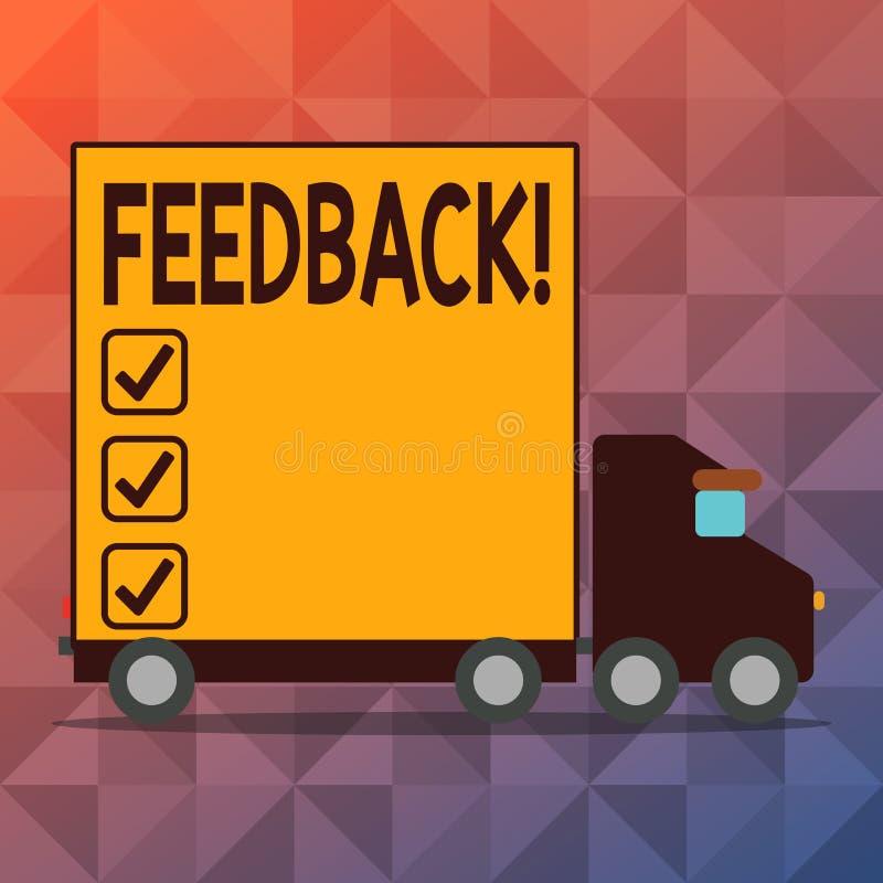 Begriffshandschrift, die Feedback zeigt Geschäftsfototext Kunden-Bericht-Meinungs-Reaktions-Bewertung geben stock abbildung