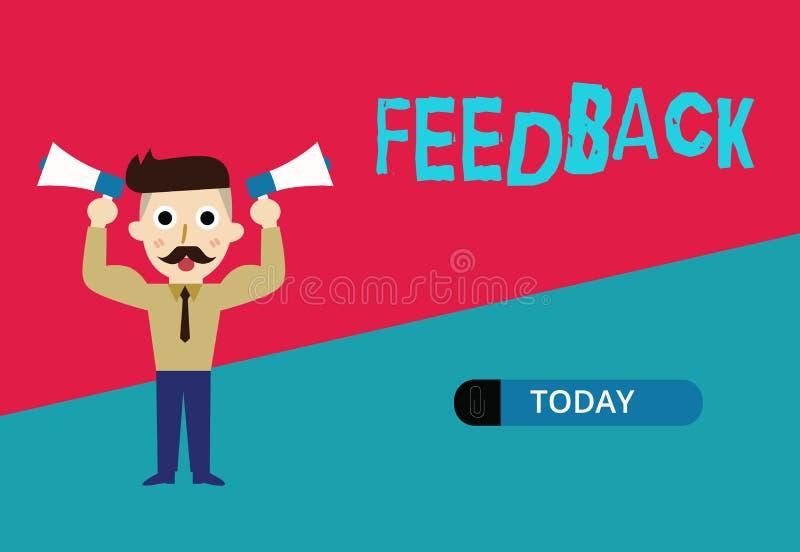 Begriffshandschrift, die Feedback zeigt Präsentationsinformationen des Geschäftsfotos über Reaktionen auf Produkt stock abbildung