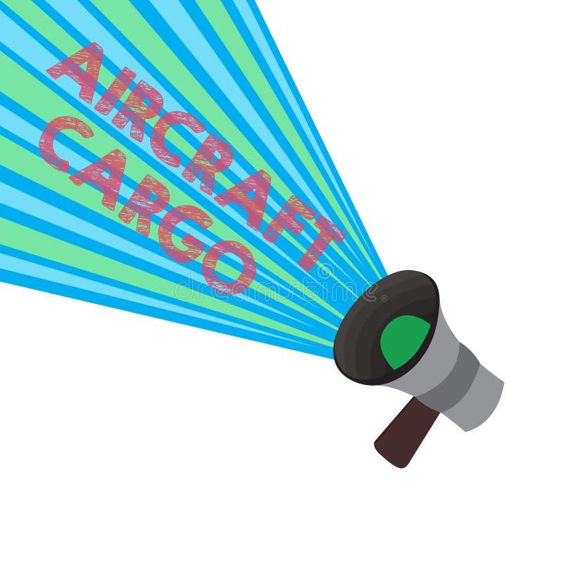 Begriffshandschrift, die Flugzeug-Fracht zeigt Geschäftsfoto Präsentationstransportunternehmen-Luftpost-Transportwaren durch Flug vektor abbildung