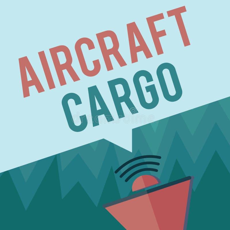 Begriffshandschrift, die Flugzeug-Fracht zeigt Geschäftsfoto Präsentationstransportunternehmen-Luftpost-Transportwaren durch Flug lizenzfreie abbildung