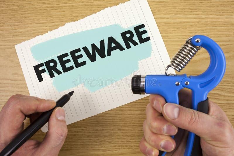Begriffshandschrift, die Freeware zeigt Geschäftsfoto Präsentationssoftware-Anwendung, die für Gebrauch an nicht Währungs verfügb lizenzfreie stockfotografie