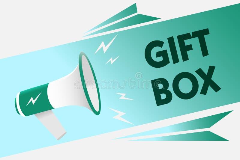 Begriffshandschrift, die Geschenkbox zeigt Das Geschäftsfoto, das kleines cointainer A mit den Designen fähig sind zur Behandlung stock abbildung