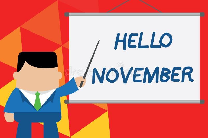 Begriffshandschrift, die hallo November zeigt Geschäftsfoto-Text Willkommen der elfte Monat des Jahr Monats vorher vektor abbildung