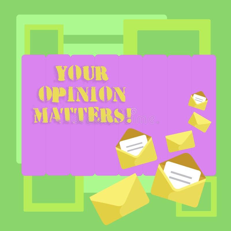 Begriffshandschrift, die Ihre Meinungs-Angelegenheiten zeigt Die Geschäftsfototext Kunden-Feedback-Berichte sind geschlossen wich lizenzfreie abbildung