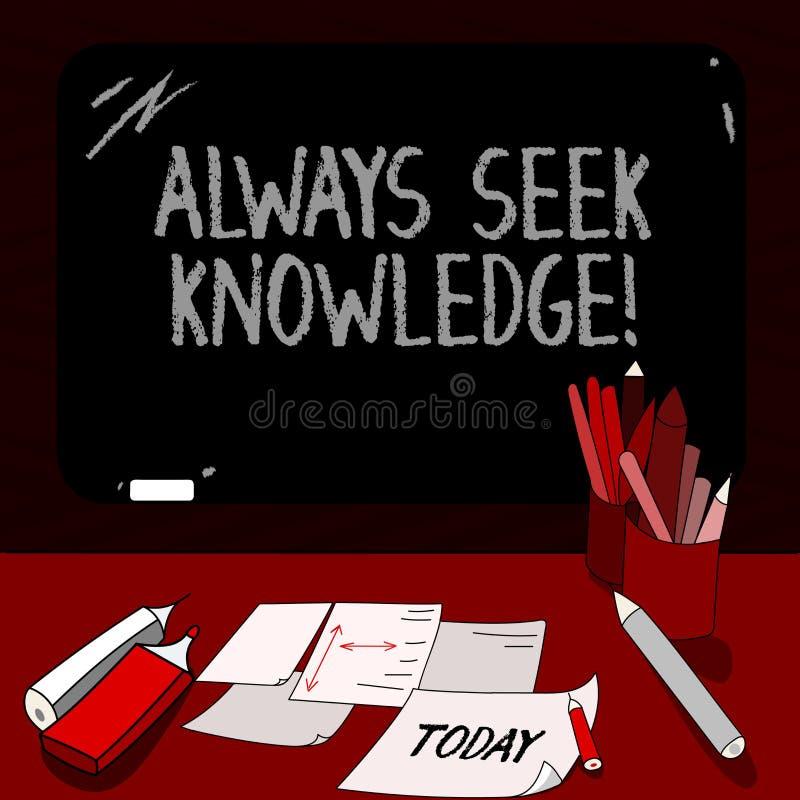Begriffshandschrift, die immer Suchvorgang-Wissen zeigt Geschäftsfoto Präsentationsstarke Richtung autodidact von ausgesucht stock abbildung