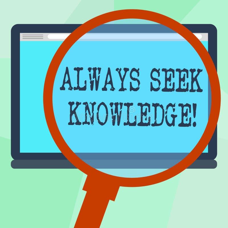 Begriffshandschrift, die immer Suchvorgang-Wissen zeigt Starke Richtung Geschäftsfototext Autodidact von ausgesucht stock abbildung