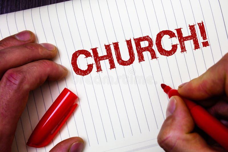 Begriffshandschrift, die Kirche zeigt Geschäftsfoto Präsentationskathedralen-Altar-Turm-Kapellen-Moscheen-Schongebiet-Schrein-Syn stockbild