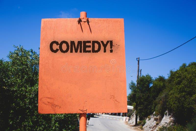 Begriffshandschrift, die Komödien-Anruf zeigt Geschäftsfototext Spaß-Humor-Satiren-Sitcom-Gelächter-scherzende Unterhaltung, die  lizenzfreies stockbild