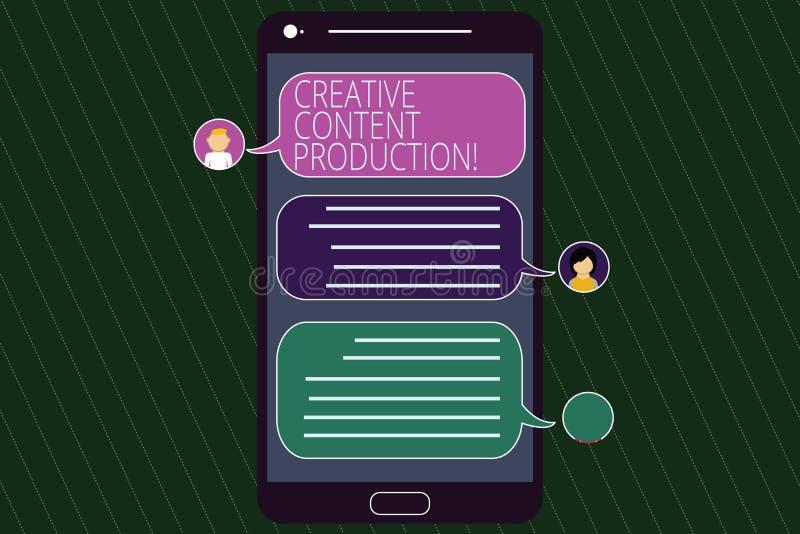 Begriffshandschrift, die kreative zufriedene Produktion zeigt Geschäftsfototext, der die Sicht- oder schriftlichen Anlagegüter en lizenzfreie abbildung