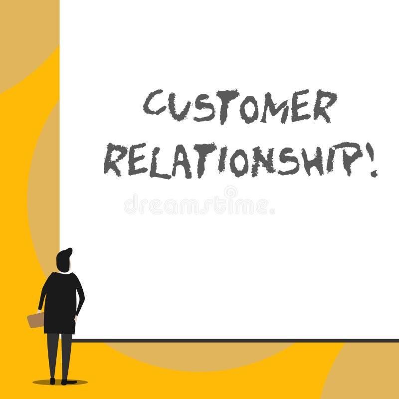 Begriffshandschrift, die Kunden-Verh?ltnis zeigt Gesch?ftsfoto Pr?sentationsabkommen und Interaktion zwischen Firma vektor abbildung