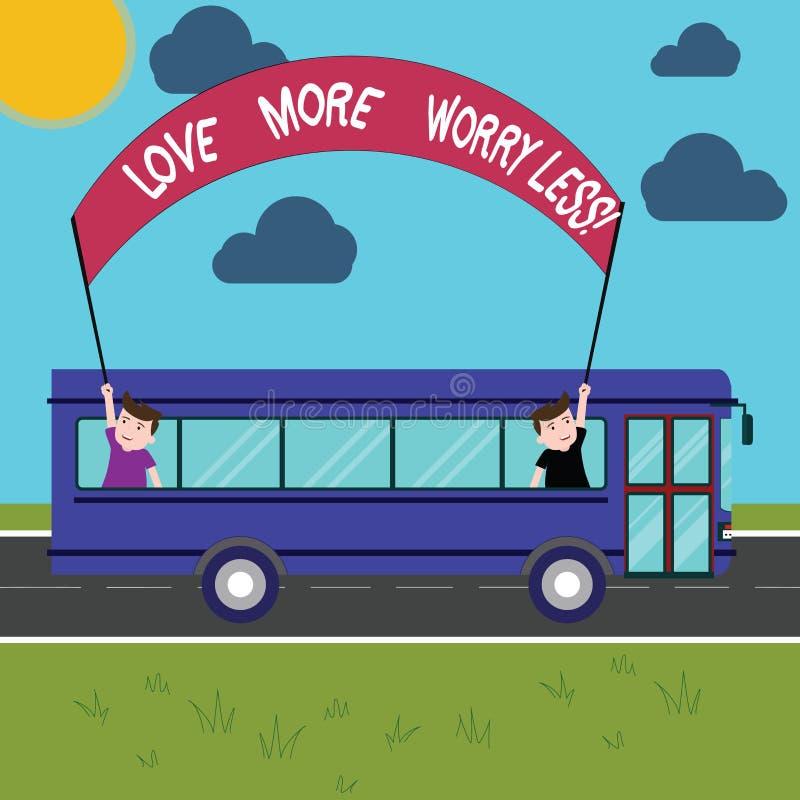 Begriffshandschrift, die Liebe mehr Sorge kleiner zeigt Die Geschäftsfotopräsentation lassen eine gute Haltungsmotivation sein stock abbildung