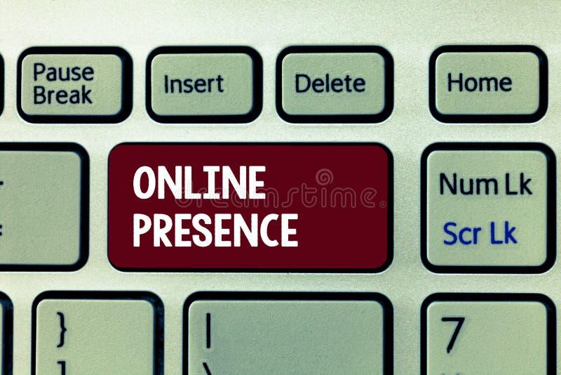 Begriffshandschrift, die on-line-Anwesenheit zeigt Präsentationsbestehen des Geschäftsfotos von jemand, das über ein on-line-Se g lizenzfreies stockbild