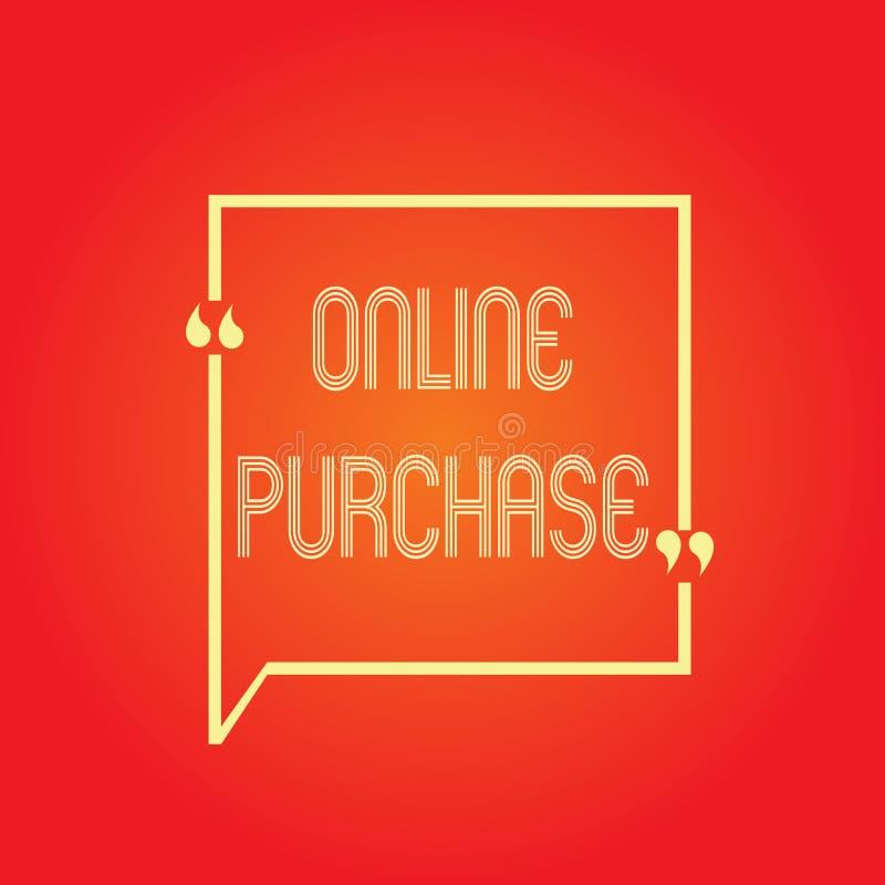 Begriffshandschrift, die on-line-Kauf zeigt Geschäftsfototext kauft Waren des elektronischen Geschäftsverkehrs von über vektor abbildung