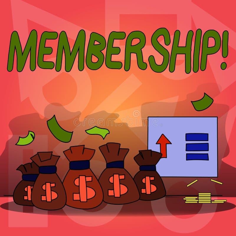Begriffshandschrift, die Mitgliedschaft zeigt Der Geschäftsfototext, der Mitgliedsteil einer Gruppe oder Team ist, schließen sich lizenzfreie abbildung