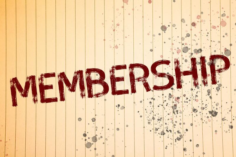 Begriffshandschrift, die Mitgliedschaft zeigt Die Geschäftsfotos, die seiend Mitgliedsteil einer Gruppe oder Team zur Schau stell lizenzfreie stockbilder