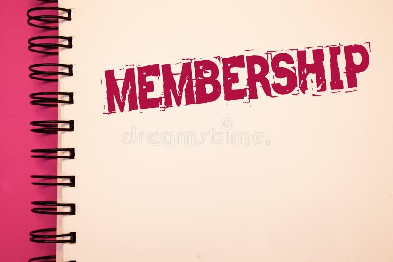 Begriffshandschrift, die Mitgliedschaft zeigt Die Geschäftsfotos, die seiend Mitgliedsteil einer Gruppe oder Team zur Schau stell lizenzfreie stockfotografie