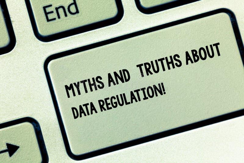 Begriffshandschrift, die Mythen und Wahrheiten über Daten-Regelung zeigt Geschäftsfoto Präsentationsmedieninformation lizenzfreies stockbild