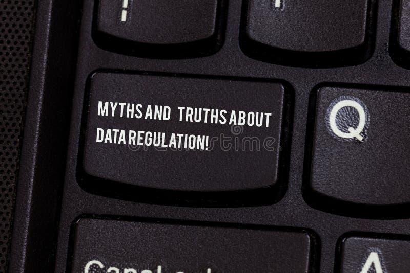 Begriffshandschrift, die Mythen und Wahrheiten über Daten-Regelung zeigt Geschäftsfototext Medieninformationsschutz stockfotografie