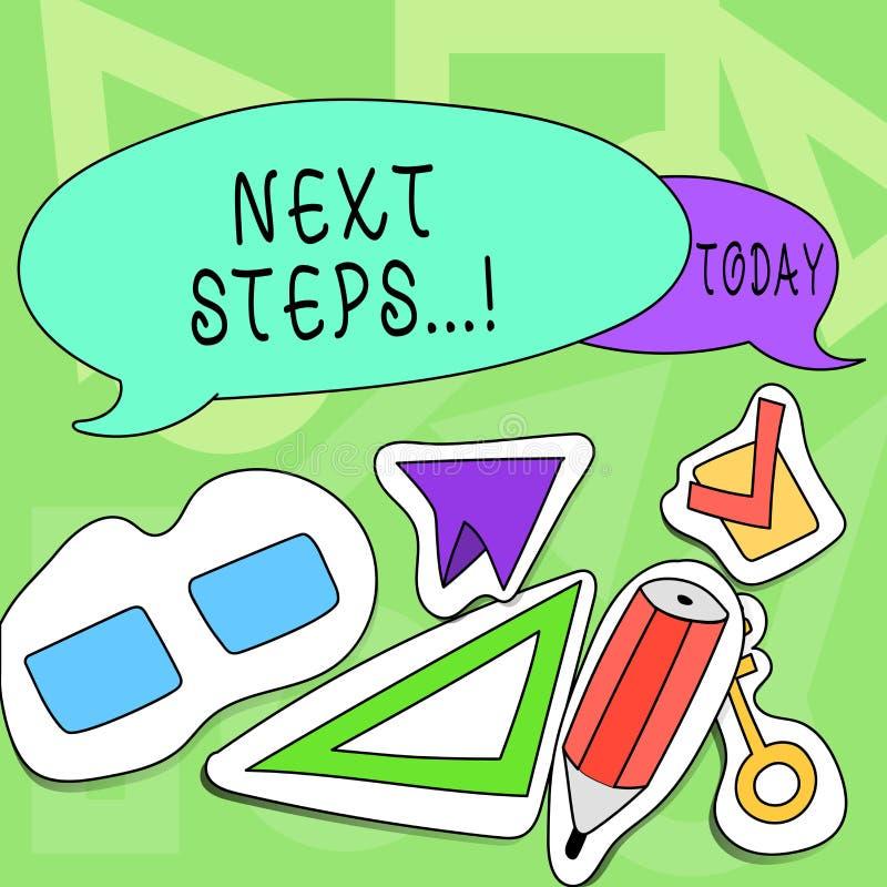 Begriffshandschrift, die nächste Schritte zeigt Geschäftsfototext etwas, das Sie tun, nachdem Sie beendet haben, erstes ein zu tu stock abbildung