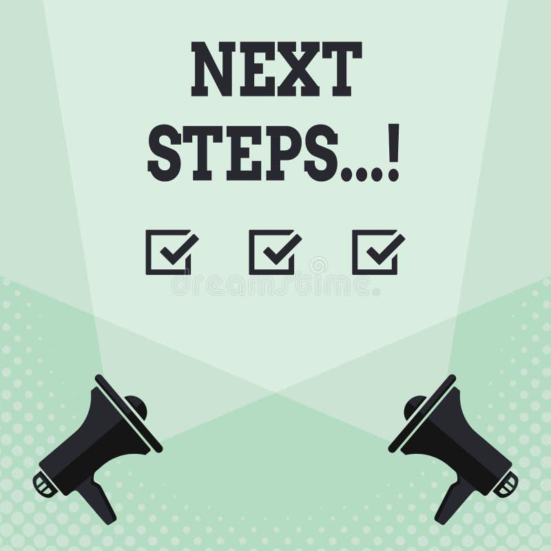 Begriffshandschrift, die nächste Schritte zeigt Geschäftsfototext etwas, das Sie tun, nachdem Sie beendet haben, erstes ein zu tu vektor abbildung