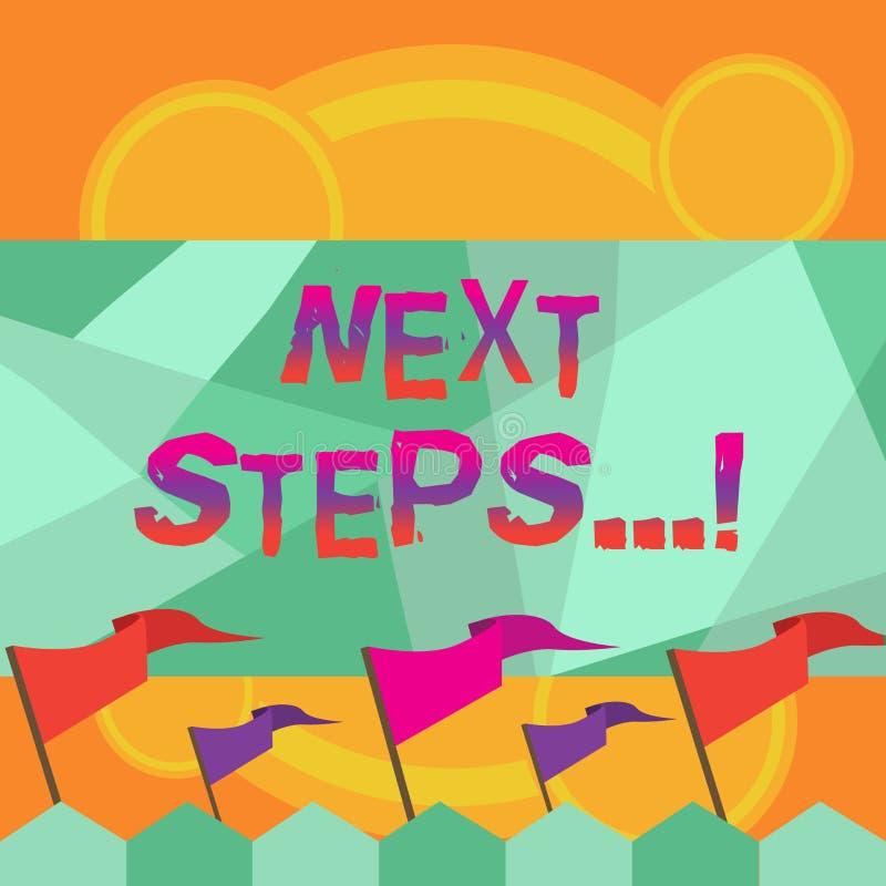 Begriffshandschrift, die nächste Schritte zeigt Geschäftsfototext nach Bewegungs-Strategie-Plan geben Richtungs-Richtlinie stock abbildung