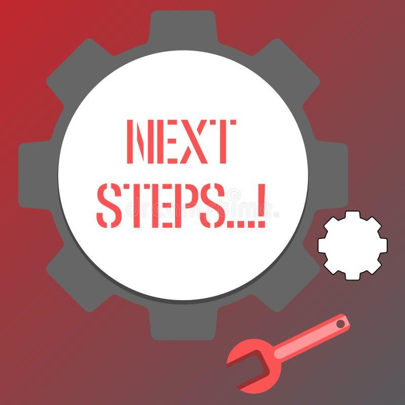 Begriffshandschrift, die nächste Schritte zeigt Geschäftsfototext nach Bewegungs-Strategie-Plan geben Richtungs-Richtlinie vektor abbildung