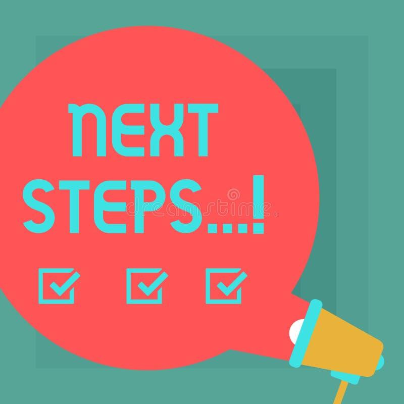 Begriffshandschrift, die nächste Schritte zeigt Geschäftsfototext nach Bewegungs-Strategie-Plan geben Richtungs-Richtlinien-Runde lizenzfreie abbildung