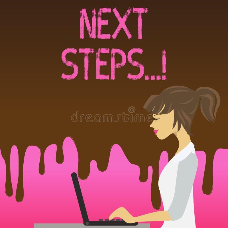 Begriffshandschrift, die n?chste Schritte zeigt Gesch?ftsfototext etwas, das Sie tun, nachdem Sie beendet haben, erstes ein zu tu vektor abbildung