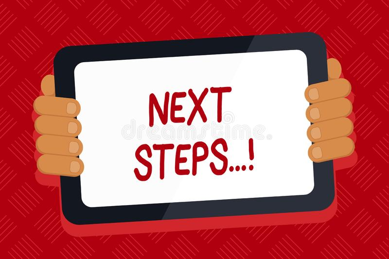 Begriffshandschrift, die n?chste Schritte zeigt Gesch?ftsfototext etwas, das Sie tun, nachdem Sie beendet haben, erstes ein zu tu lizenzfreie abbildung