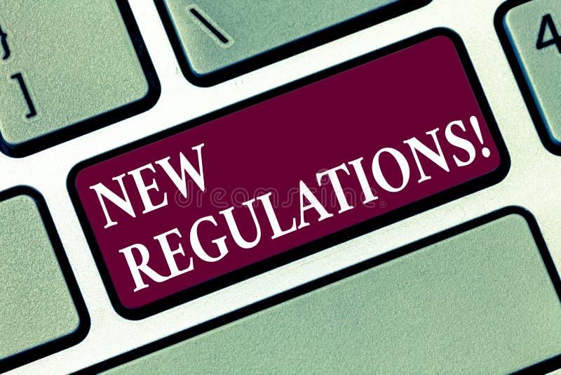 Begriffshandschrift, die neue Regelungen zeigt Geschäftsfoto-Text Änderung von Gesetzen ordnet Unternehmensstandards an lizenzfreie stockbilder