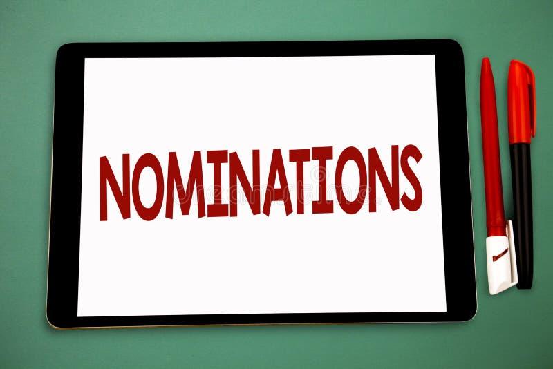 Begriffshandschrift, die Nominierungen zeigt Geschäftsfoto Präsentationsvorschläge von jemand oder von etwas für eine Jobposition lizenzfreie stockbilder